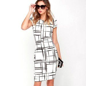 Black and Ivory Print Midi Dress